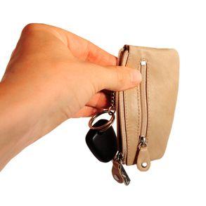 Branco – Key case / key holder made out of leather, beige, model 029