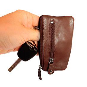 Branco, 029 - Schlüsseletui bzw. Schlüsselmäppchen aus Leder in braun, Rückansicht mit Schlüssel - 01