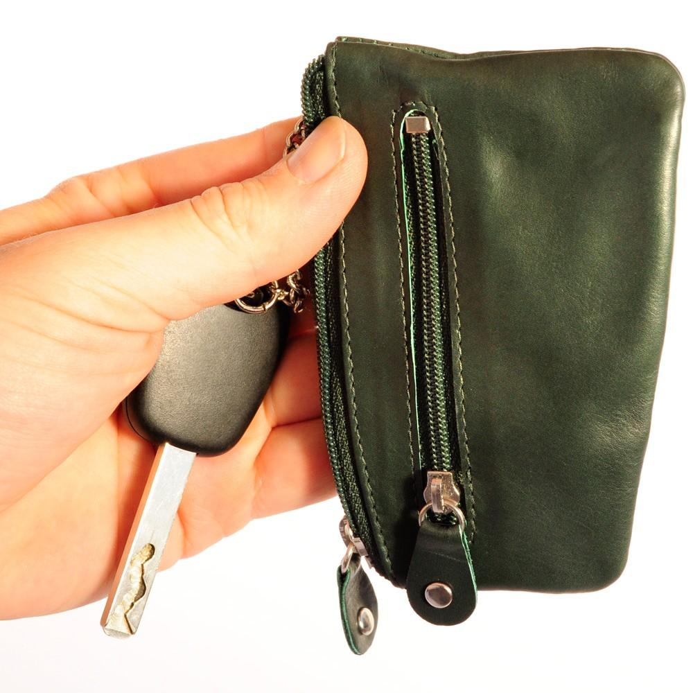 Herren Schlüsseltasche Schlüsseletui Leder Reißverschluss Extrafach in 2 Farben