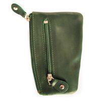 Branco, 029 - Schlüsseletui bzw. Schlüsselmäppchen aus Leder in grün, Rückansicht mit Reißverschlussfach - 02