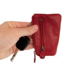Branco, 029 - Schlüsseletui bzw. Schlüsselmäppchen aus Leder in rot, Rückansicht mit Schlüssel - 01