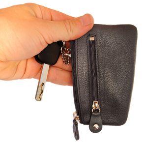 Branco – Schlüsseletui / Schlüsselmäppchen aus Leder, Schwarz, Modell 029
