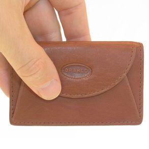 Branco, 105 - Kleine Geldbörse bzw. Mini Portemonnaie in braun, Frontansicht, von Hand gehalten - 01