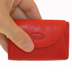 Branco, 105 - Kleine Geldbörse bzw. Mini Portemonnaie in rot, Frontansicht, von Hand gehalten - 01