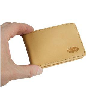 Branco, 12022 - Kleine Geldbörse bzw. Mini Portemonnaie aus Leder in Natur, Aufsicht, in Hand gehalten - 06