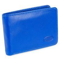 Branco, 12022 - Kleine Geldbörse bzw. Mini Portemonnaie aus Leder in Blau, Frontansicht aufgestellt - 06