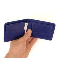Branco, 12022 - Kleine Geldbörse bzw. Mini Portemonnaie aus Leder in Blau, Frontansicht aufgeklappt - 02