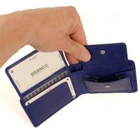 Branco, 12022 - Kleine Geldbörse bzw. Mini Portemonnaie aus Leder in Blau, Frontansicht mit geöffnetem Münzfach - 03