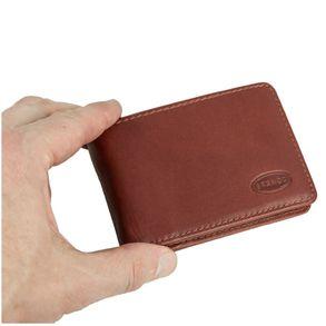 Branco, 12022 - Kleine Geldbörse bzw. Mini Portemonnaie aus Leder in Braun, Aufsicht, von Hand gehalten - 08