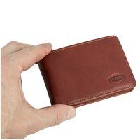 Branco – Kleine Geldbörse / Mini Portemonnaie Größe XS aus Leder, Braun, Modell 12022