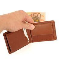 Branco, 12022 - Kleine Geldbörse bzw. Mini Portemonnaie aus Leder in Braun, Frontansicht aufgeklappt - 02