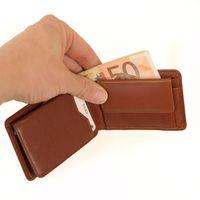 Branco, 12022 - Kleine Geldbörse bzw. Mini Portemonnaie aus Leder in Braun, Frontansicht aufgeklappt mit Detailansicht Scheinfach - 04