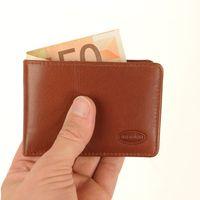 Branco, 12022 - Kleine Geldbörse bzw. Mini Portemonnaie aus Leder in Braun, Frontansicht mit Detailansicht Scheinfach - 05