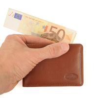 Branco, 12022 - Kleine Geldbörse bzw. Mini Portemonnaie aus Leder in Braun, Frontansicht mit gefaltetem Geldschein - 01
