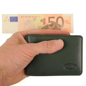 Branco, 12022 - Kleine Geldbörse bzw. Mini Portemonnaie aus Leder in Grün, Frontansicht mit gefaltetem Geldschein  - 02