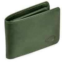 Branco, 12022 - Kleine Geldbörse bzw. Mini Portemonnaie aus Leder in Grün, Frontansicht aufgeklappt  - 07