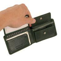 Branco, 12022 - Kleine Geldbörse bzw. Mini Portemonnaie aus Leder in Grün, Frontansicht mit aufgeklapptem Münzfach - 04