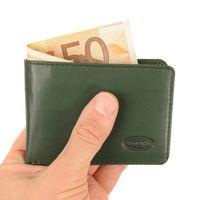Branco, 12022 - Kleine Geldbörse bzw. Mini Portemonnaie aus Leder in Grün, Frontansicht  - 01