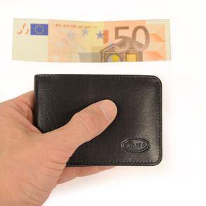 Branco, 12022 - Kleine Geldbörse bzw. Mini Portemonnaie aus Leder in Schwarz, Frontansicht mit gefaltetem Geldschein - 01