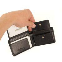 Branco, 12022 - Kleine Geldbörse bzw. Mini Portemonnaie aus Leder in Schwarz, Frontansicht mit aufgeklappten Münzfach - 04