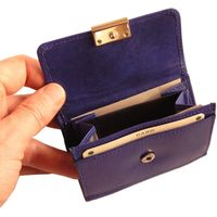 Branco – Small wallet / purse size S for women made out of leather, royal blue, model 12032-3