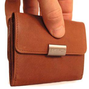 Branco, 12032 - Kleine Geldbörse bzw. kleines Portemonnaie für Damen aus Leder in braun, Seitenansicht - 04