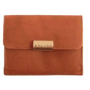 Branco, 12032 - Kleine Geldbörse bzw. kleines Portemonnaie für Damen aus Leder in braun, Frontansicht - 01