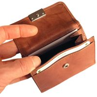 Branco – Small wallet / purse size S for women made out of leather, brown, model 12032
