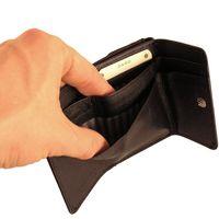 Branco, 12032 - Kleine Geldbörse bzw. kleines Portemonnaie für Damen aus Leder in schwarz, Detailansicht Geldscheinfächer geöffnet - 03