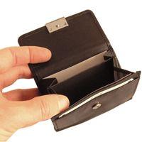 Branco, 12032 - Kleine Geldbörse bzw. kleines Portemonnaie für Damen aus Leder in schwarz, Detailansicht Münzfächer - 04