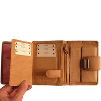 Branco – Große Geldbörse / Portemonnaie Größe L für Damen aus Leder, Natur-Beige, Modell 12050