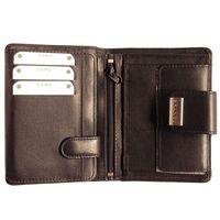 Branco – Große Geldbörse / Portemonnaie Größe L für Damen aus Leder, Schwarz, Modell 12050