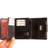 Branco, 12050 - Große Geldbörse bzw. großes Portemonnaie für Damen aus Leder in schwarz, Detailansicht Kartenfächer - 03