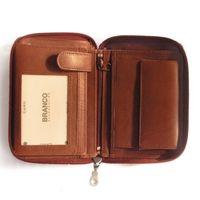Branco, 12052z - Große Geldbörse bzw. großes Portemonnaie aus Leder in braun, Frontansicht aufgeklappt - 02
