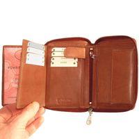 Branco, 12052z - Große Geldbörse bzw. großes Portemonnaie aus Leder in braun, Detailansicht Kartenfächer - 03