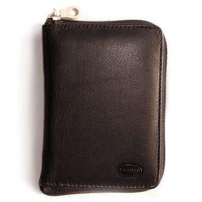 Branco, 12052z - Große Geldbörse bzw. großes Portemonnaie aus Leder in schwarz, Frontansicht - 01