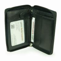 Branco, 12052z - Große Geldbörse bzw. großes Portemonnaie aus Leder in schwarz, Frontansicht halb aufgeklappt - 02