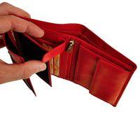 Branco – Große Geldbörse / Elegantes Portemonnaie Größe L für Damen aus Leder, Rot, Modell 22369