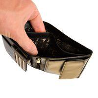 Branco, 22369 - Schicke Geldbörse bzw. schickes Portemonnaie aus Leder für Damen in schwarz, Detailansicht Geldscheinfächer - 03