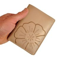Branco – Large wallet / elegant purse size L for women made out of leather, beige taupe, model 22369-2