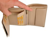 Branco – Large wallet / elegant purse size L for women made out of leather, beige taupe, model 22369