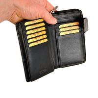 Branco – Large wallet / elegant purse size L for women made out of leather, black, model 22373-5
