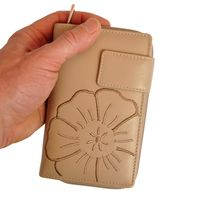 Branco – Large wallet / elegant purse size L for women made out of leather, beige taupe, model 22373