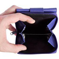 Branco, 225 - Kleine Geldbörse bzw. kleines Portemonnaie für Damen aus Leder in blau, Detailansicht Münzfach - 03