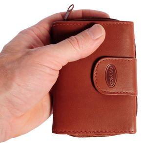 Branco, 225 - Kleine Geldbörse bzw. kleines Portemonnaie für Damen aus Leder in braun, Frontansicht mit Hand - 02