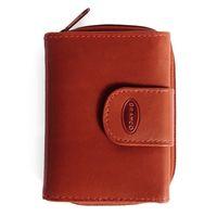 Branco – Kleine Geldbörse / Portemonnaie Größe S für Damen aus Leder, Braun, Modell 225