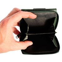 Branco – Small wallet / purse size S for women made out of leather, hunter's green, model 225-3