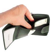 Branco, 225 - Kleine Geldbörse bzw. kleines Portemonnaie für Damen aus Leder in grün, Detailansicht Geldscheinfach - 04