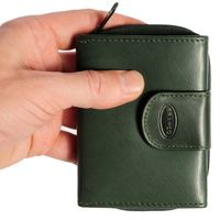 Branco – Small wallet / purse size S for women made out of leather, hunter's green, model 225
