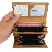Branco – Large wallet / purse size L for women, made out of leather, beige, model 265-2